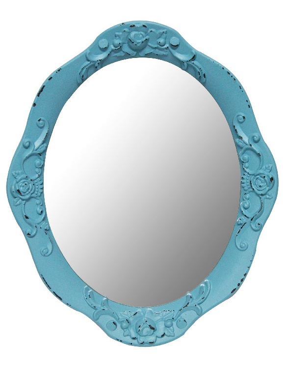 Blue Rose Oval Mirror